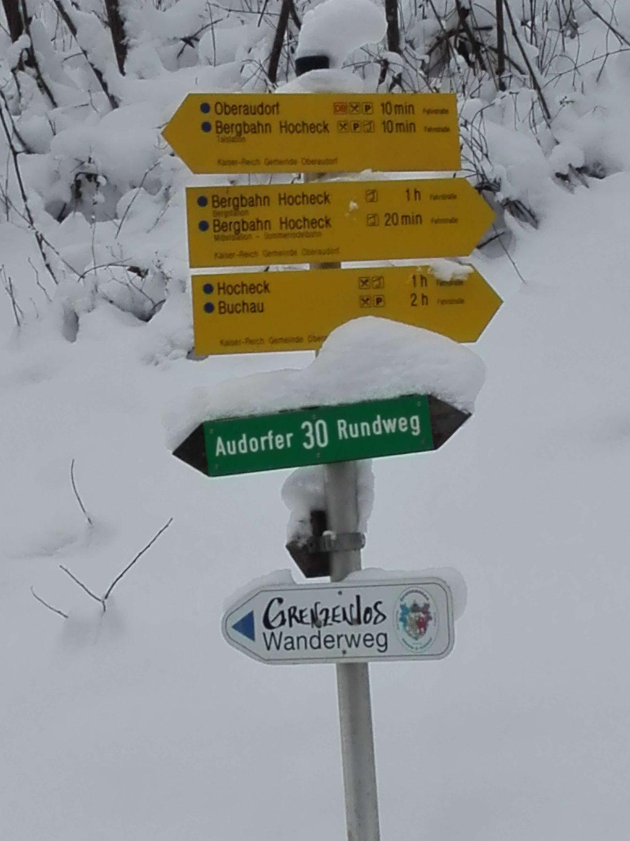 16 Hocheck Foststrasse Schild Abzweigung